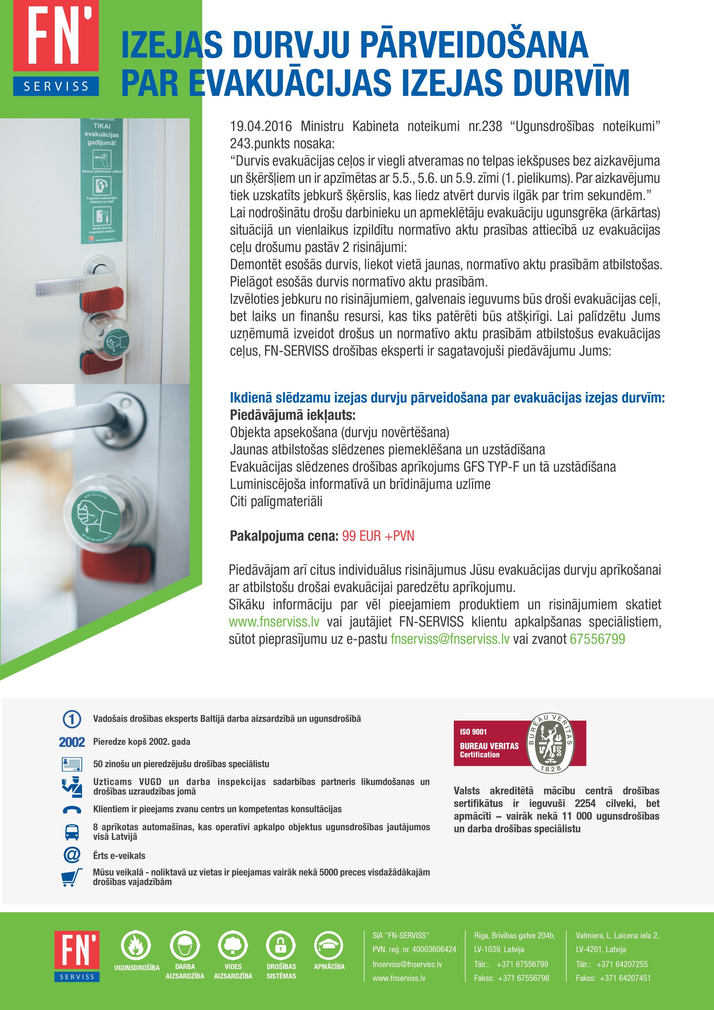 Lapa durvju pārveidošana par ekvakuācijas izeju