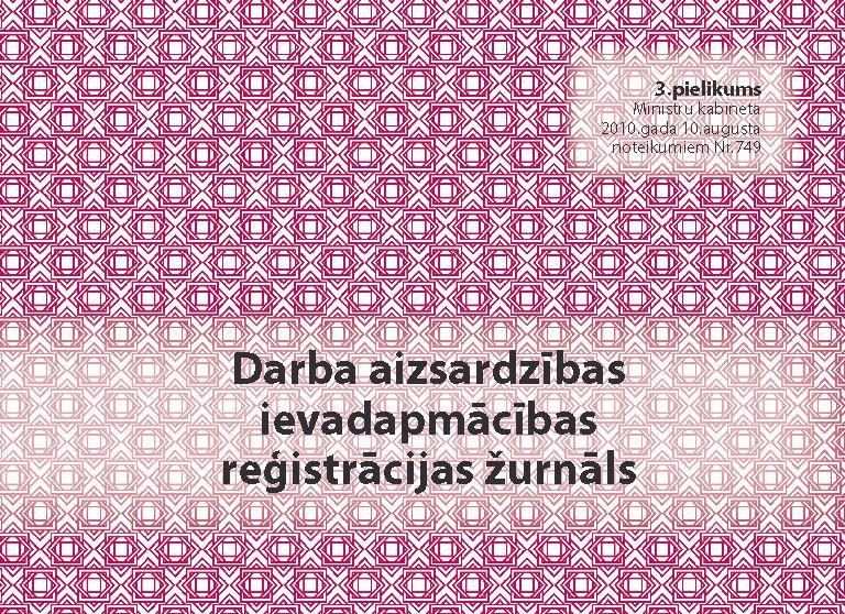 Violets darba aizsardzības ievadapmācības reģistrācijas žurnāls