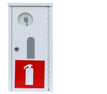 Balta ugunsdzēsības aparātu kaste ar stiklu 1