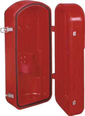 Sarkana plastikāta ugunsdzēsības aparāta uzglabāšanas kaste