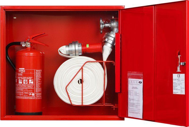 Sarkana ugunsdzēsības krānu kaste ar grozu 3