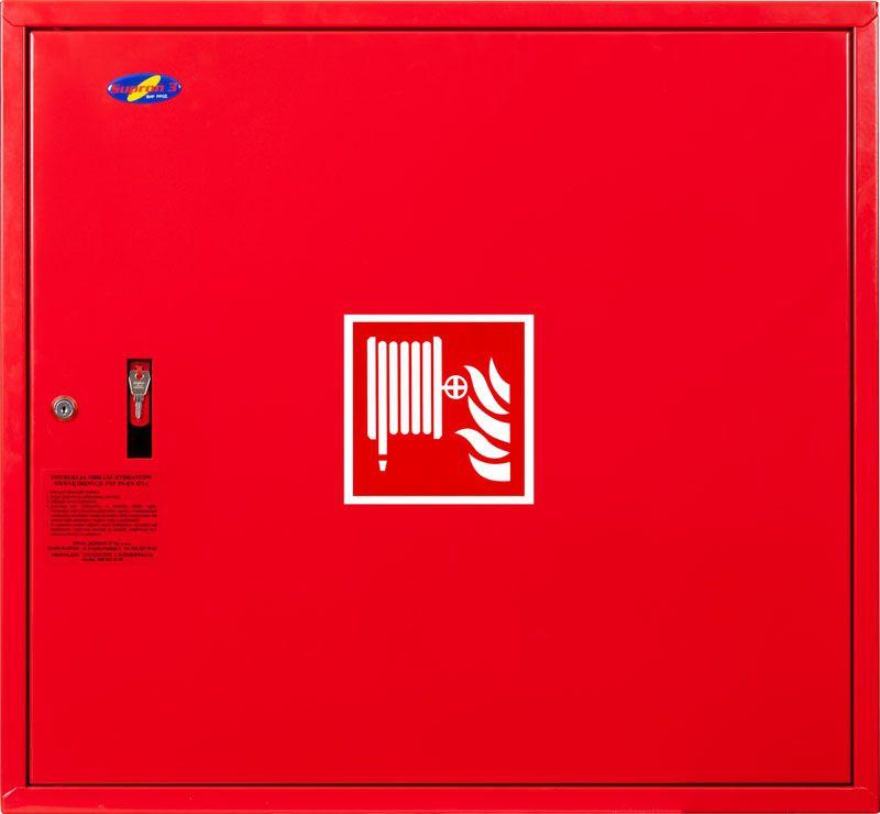 Sarkana ugunsdzēsības krānu kaste aizvērta