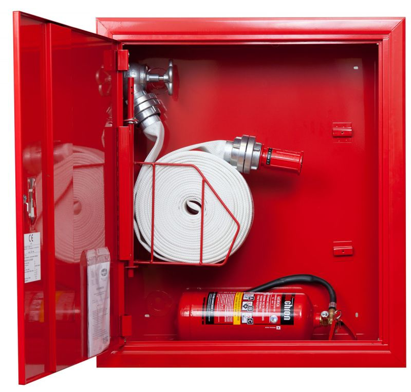 Sarkana ugunsdzēsības krānu kaste ar grozu 1