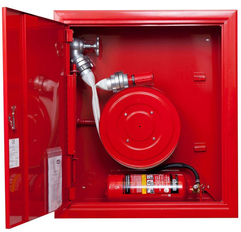 Sarkana ugunsdzēsības krānu kaste šļūtene rullī 2