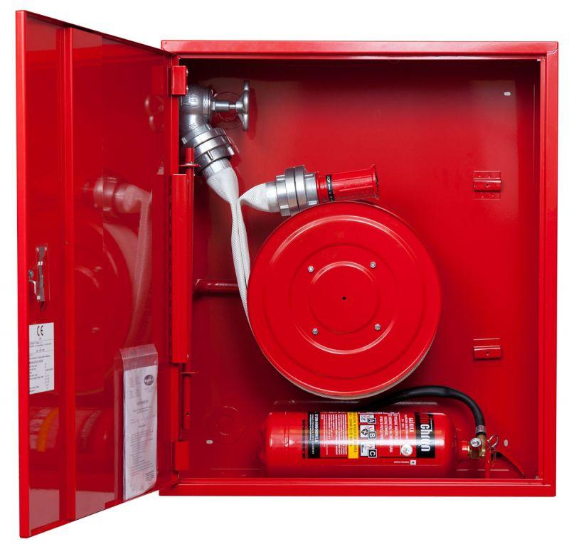 Sarkana ugunsdzēsības krānu kaste šļūtene rullī 1