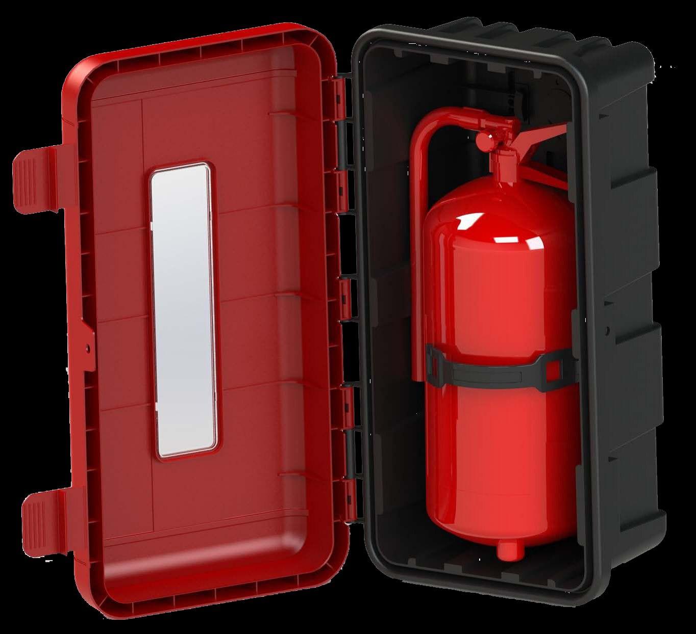 Melna plastikāta ugunsdzēsības aparātu kaste