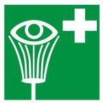 Zaļa informatīva uzlīme - Acu skalošana