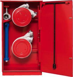 Sarkana universāla aizsargkaste ugunsdzēsības inventāram atvērta 3