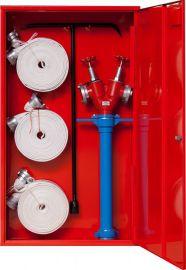 Sarkana universāla aizsargkaste ugunsdzēsības inventāram atvērta