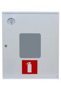 Balta ugunsdzēsības aparātu kaste ar stiklu