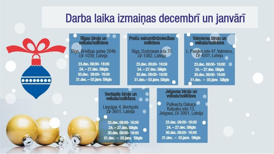 FN-Serviss Darba laika izmaiņas decembrī un janvārī