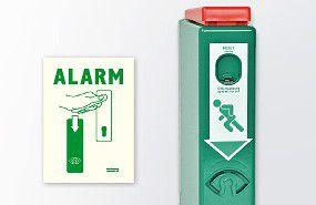 Evakuācijas izeju rokturu bloķētājs ar priekšsignalizāciju