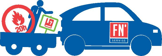 FN serviss rūpēs par drošību 1 zils auto