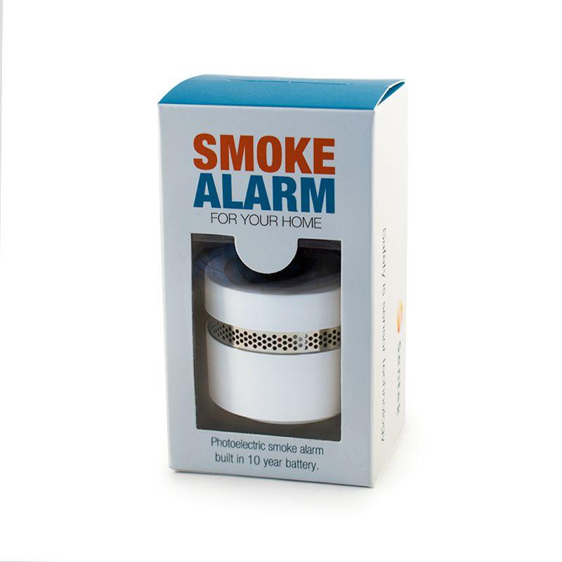 Balts mini lokālais dūmu detektors kastītē