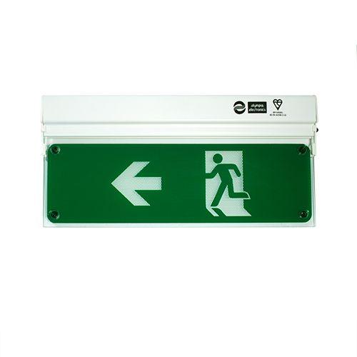 Zaļš evakuācijas apgaismojums pa kreisi