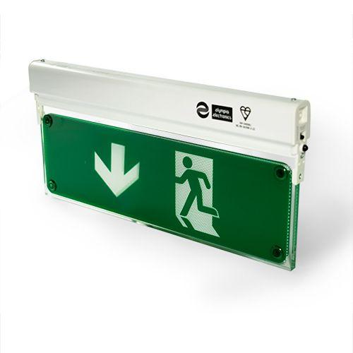 Zaļš evakuācijas apgaismojums uz leju sāniski