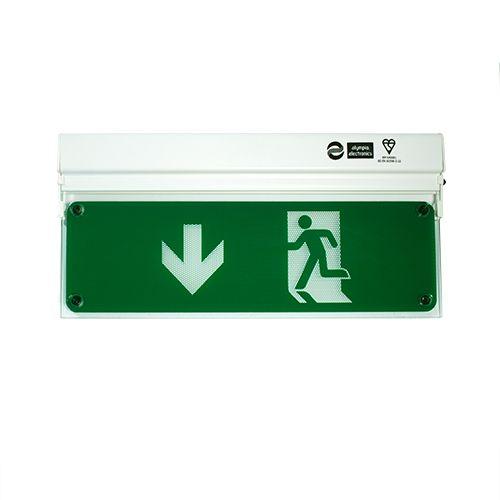 Zaļš evakuācijas apgaismojums uz leju