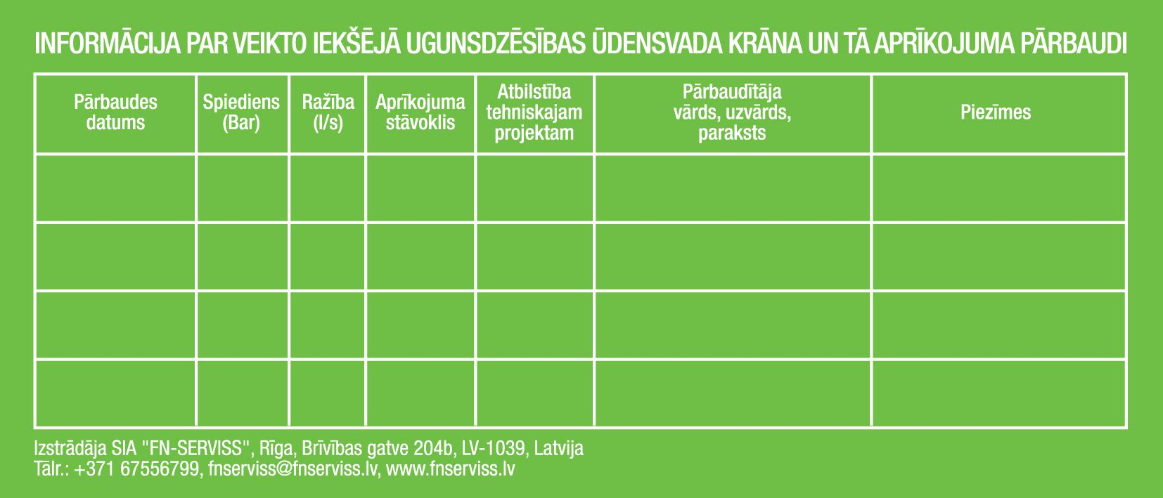 Zaļa uzlīme informācija ugunsdzēsības inventāra pārbaude