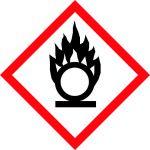 Balta informatīva brīdinājuma uzlīme oksidējoša viela