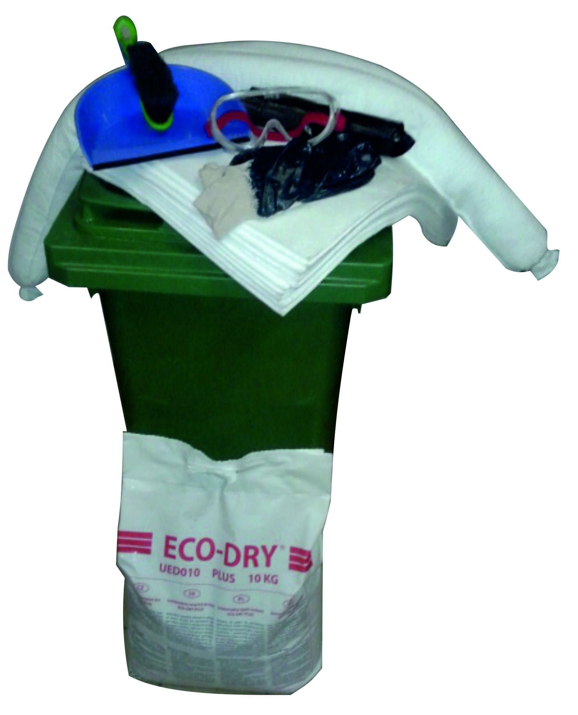 Zaļš absorbentu avārijas noplūdes komplekts konteinerī