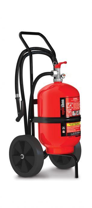 Sarkans stumjams pulvera ugunsdzēsības aparāts