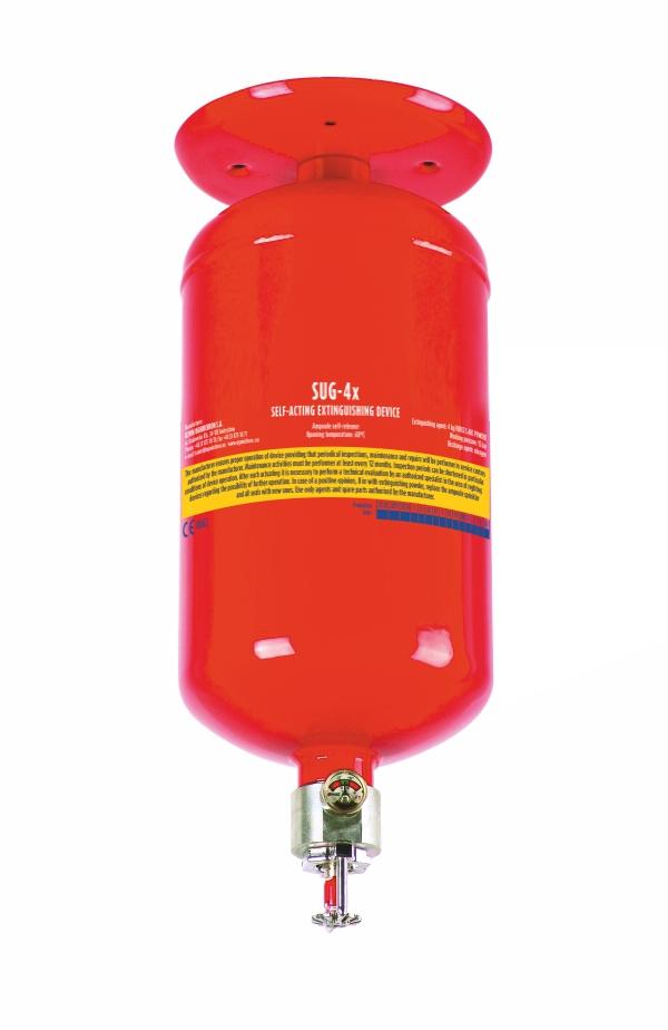 Sarkans griestu pulvera ugunsdzēsības aparāts