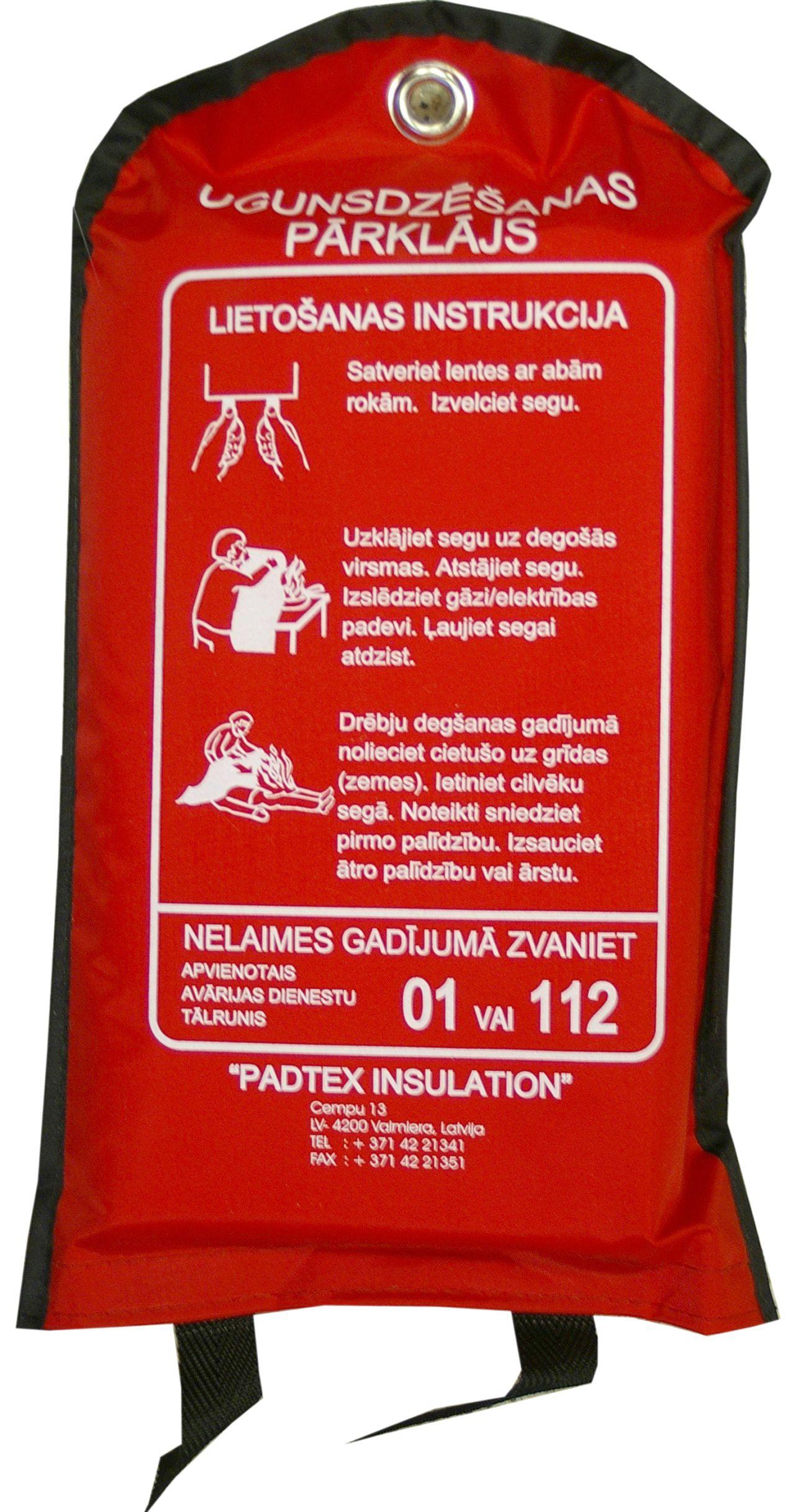 Sarkans ugunsdrošības ugunsdzēsības pārklājs somā
