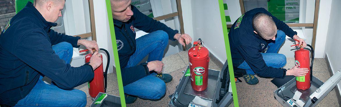 Lapa ugunsdzēsības aparātu vizuālā apskate