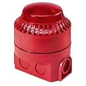 Sarkana iekštelpu ugunsdrošības sirēna ar lampu