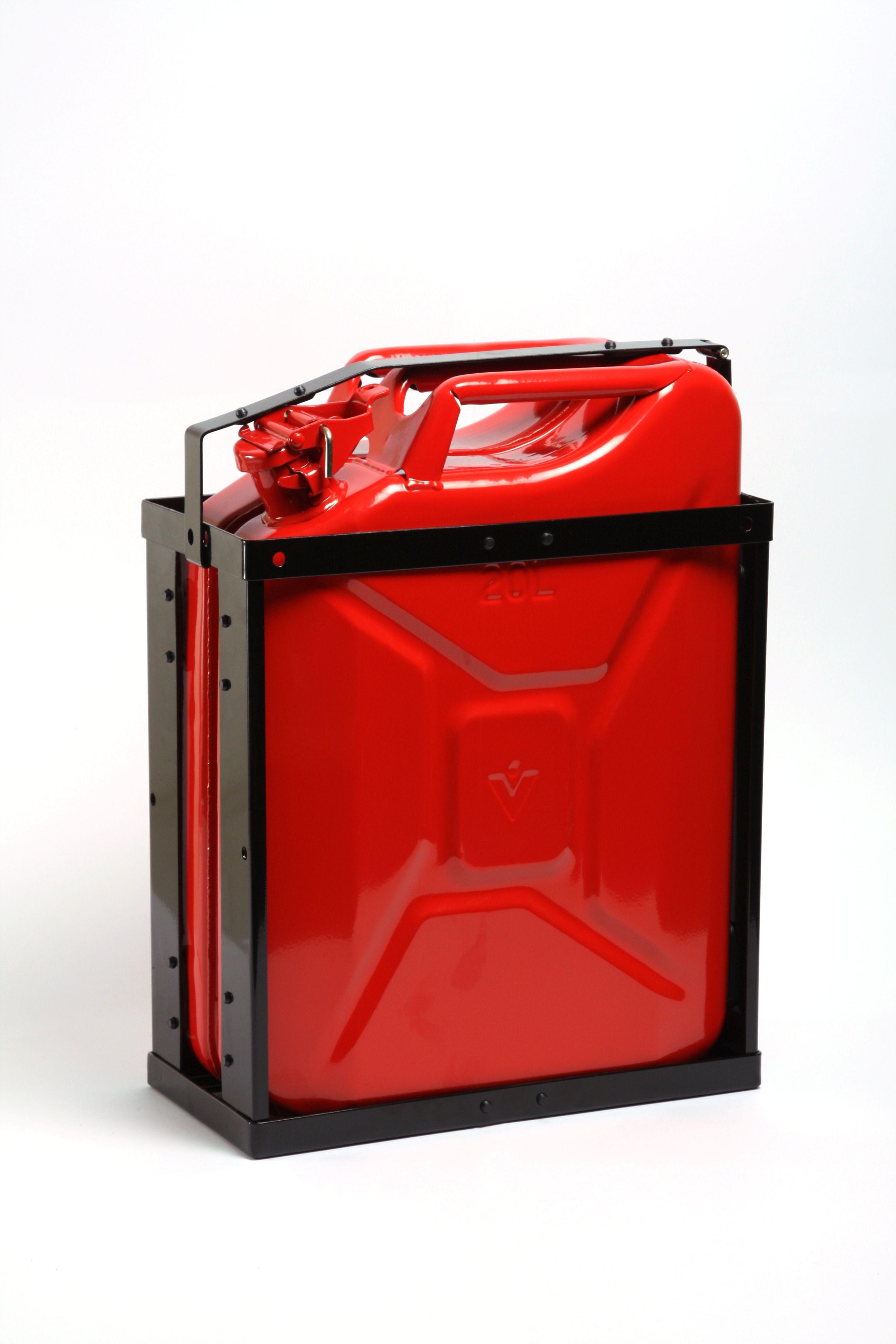 Melns degvielas kannas režģis sarkana kanna
