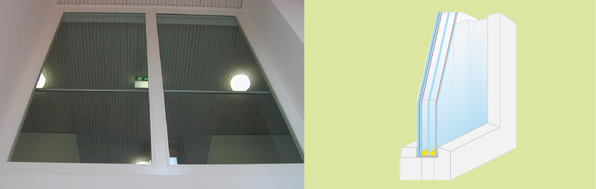 Ugunsdrošo stikla konstrukciju drošība logs šķērsgriezums