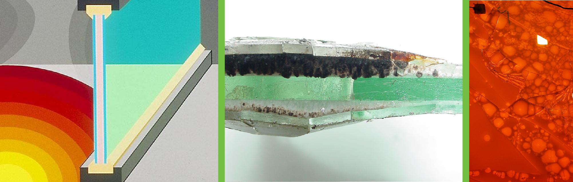 Ugunsdrošo stikla konstrukciju drošība vairāki šķērsgriezumi