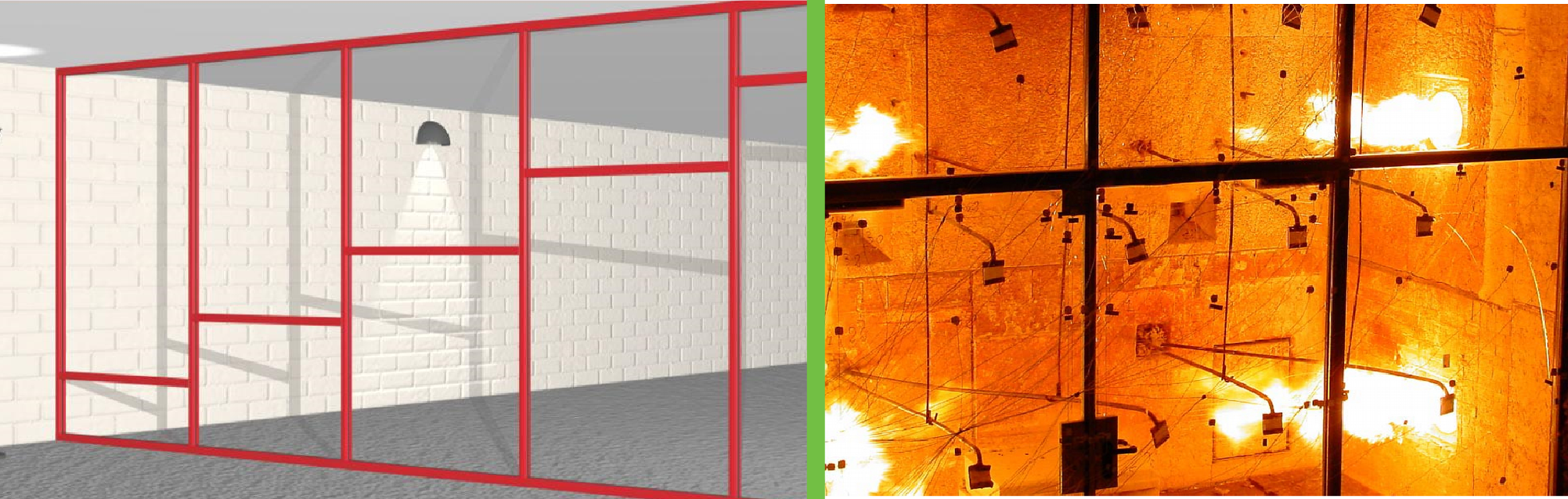 Ugunsdrošo stikla konstrukciju drošība liesmas