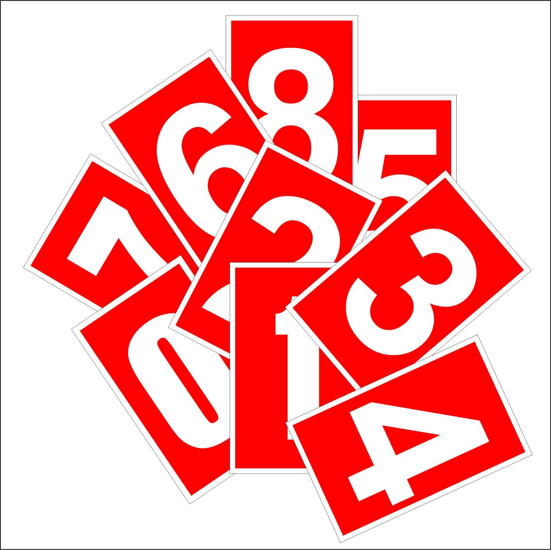 sarkanas informatīvas ciparu uzlīmes 1