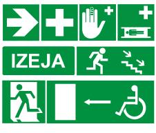 Evakuācijas un pirmās palīdzības uzlīmes