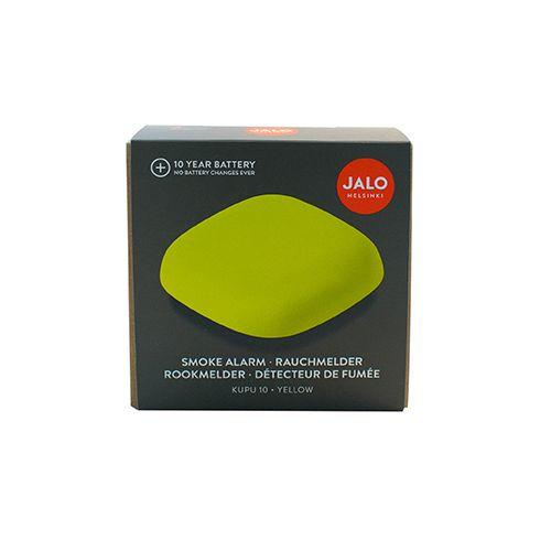 Dzeltens dūmu detektors kastītes formā kastītē