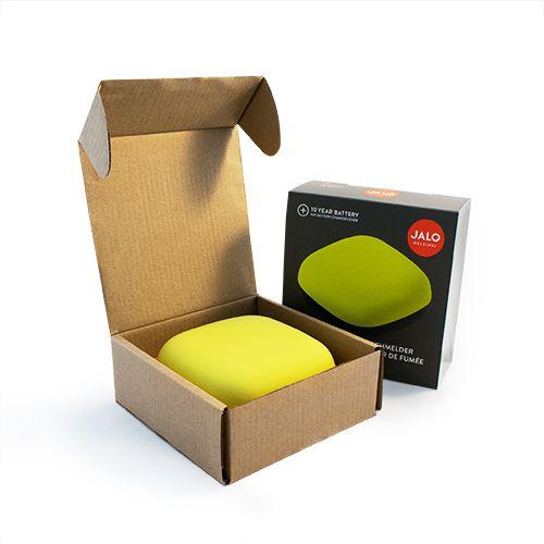 Dzeltens detektors kastītes formā atvērtā kastītē