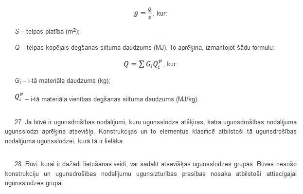 Ugunsslodzes aprēķināšanas formulas