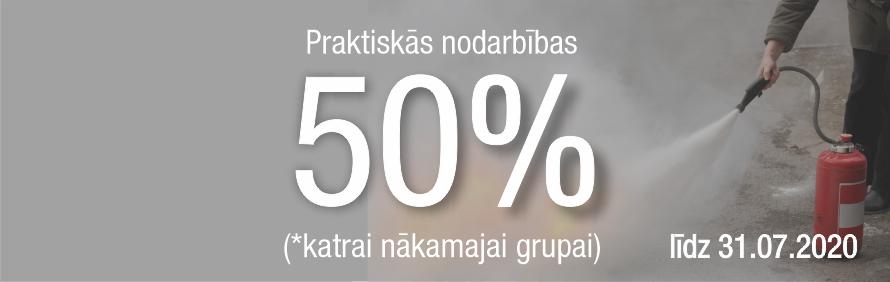 Īpašais piedāvājums praktiskām nodarbībām - 50% atlaide no pakalpojuma maksas
