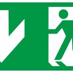 """Uzlīme """"IZEJA uz leju pa kreisi"""", papildus uzlīme OXIMIA LED evakuācijas un avārijas apgaismojumam (300 x150 mm)"""