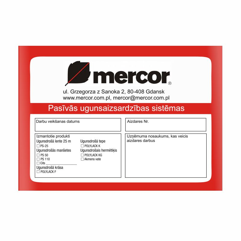 Sarkana mercor pasīvās ugunsaizsardzības sistēmas uzlīme