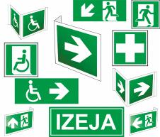 Luminiscējošās Evakuācijas un pirmās palīdzības uzlīmes