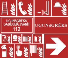 Plakanās luminiscējošas ugunsdrošības uzlīmes un zīmes