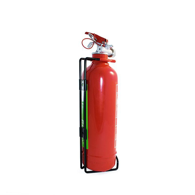 Sarkans pulvera ugunsdzēsības aparāts ar turētāju