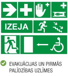 Produktu kategorija uzlīmes evakuācijas uzlīmes