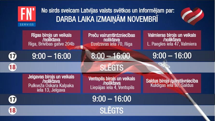 FN-SERVISS darba laika izmaiņas novembrī