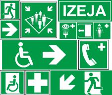 Parastās luminiscējošas luminiscējošas evakuācijas un pirmās palīdzības uzlīmes un zīmes
